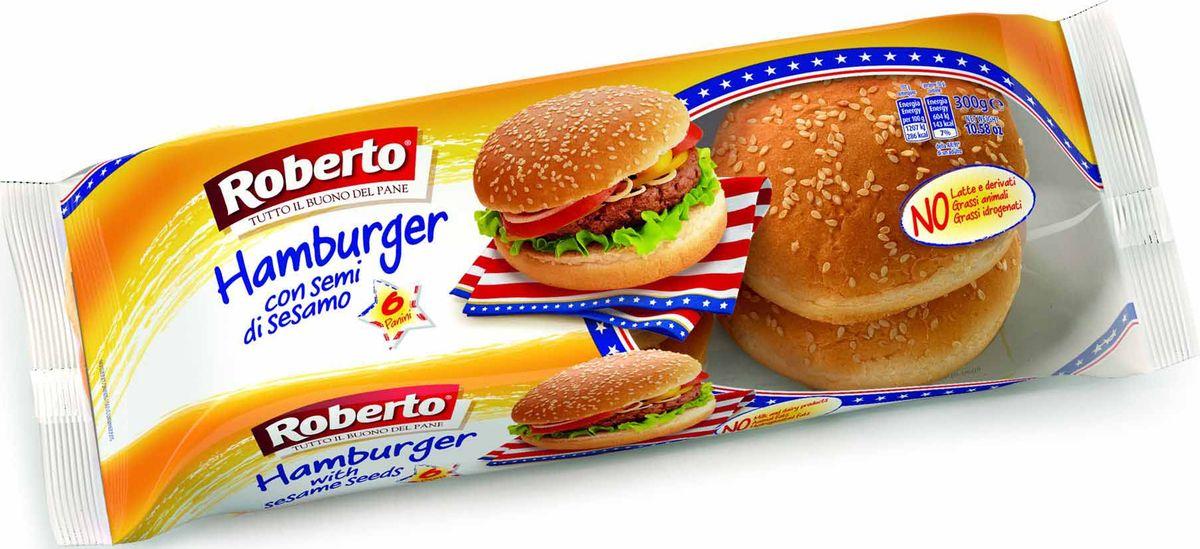 Roberto Булочки для гамбургеров с кунжутом 8 шт, 300 г6223Прекрасное решение для любителей гамбургеров! Булочки с кунжутом позволят повторить любимое блюдо дома.