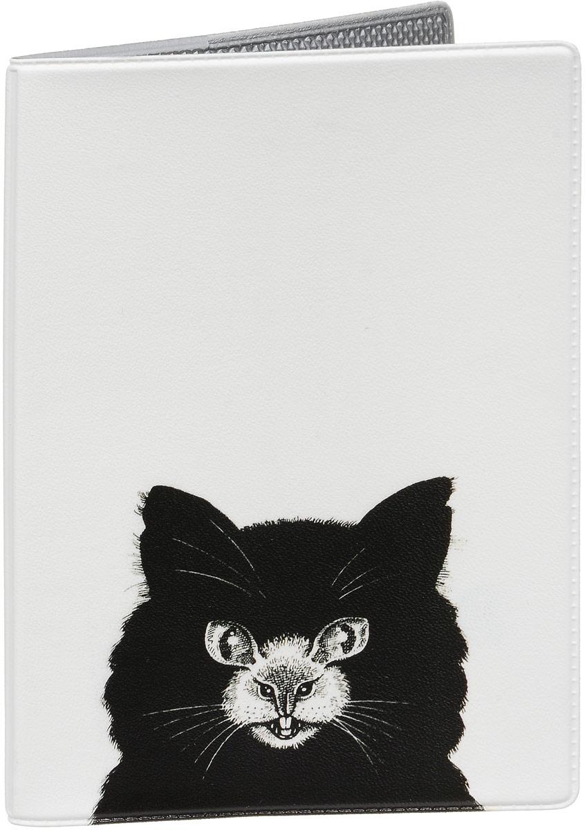 Обложка для паспорта Mitya Veselkov Кошка или мышь, цвет: черный, белый. OZAM431 обложка для паспорта printio сад земных наслаждений