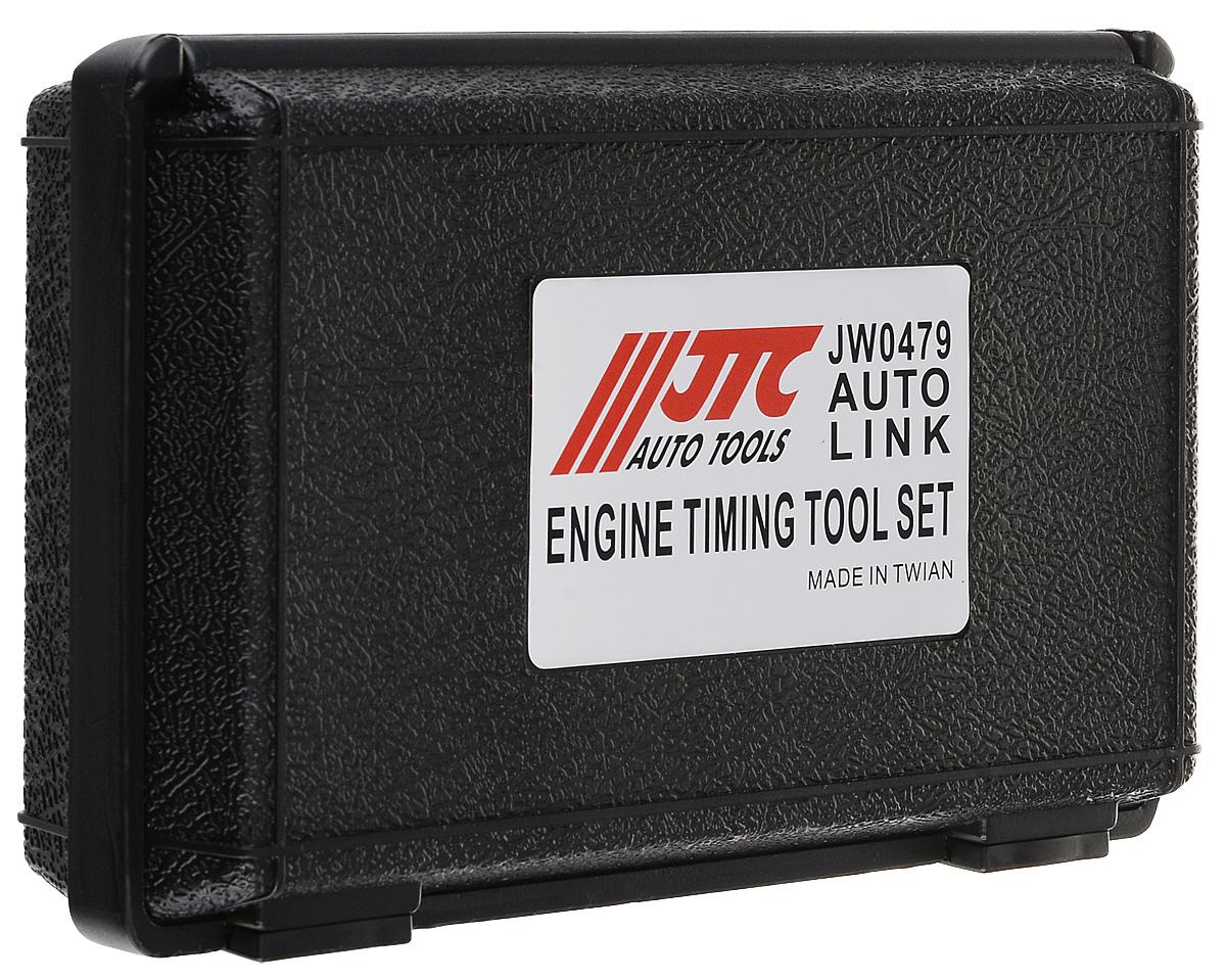 Набор фиксаторов распределительного вала JTC, для установки фаз ГРМ, для Renault, Nissan двигатель K4J, K4M, F4P, F4R. JTC-JW0479JTC-JW0479Набор фиксаторов распределительного вала JTC для установки фаз ГРМ включает в себя 4 приспособления из прочного и стойкого к изнашиванию материала. Набор позволяет зафиксировать распределительные и коленчатый валы в правильном положении на двухвальных 16-ти клапанных двигателях Nissan и Renault. Для удобства хранения и транспортировки предметы набора упакованы в пластиковый кейс.Применение: Nissan и Renault с двигателем K4J,K4M,F4P,F4R. В комплекте: - фиксатор коленчатого вала - 1 шт;- установочная планка распределительных валов - 1 шт;- монтажная пластина планки - 1 шт;- фиксатор коленчатого вала - 1 шт.