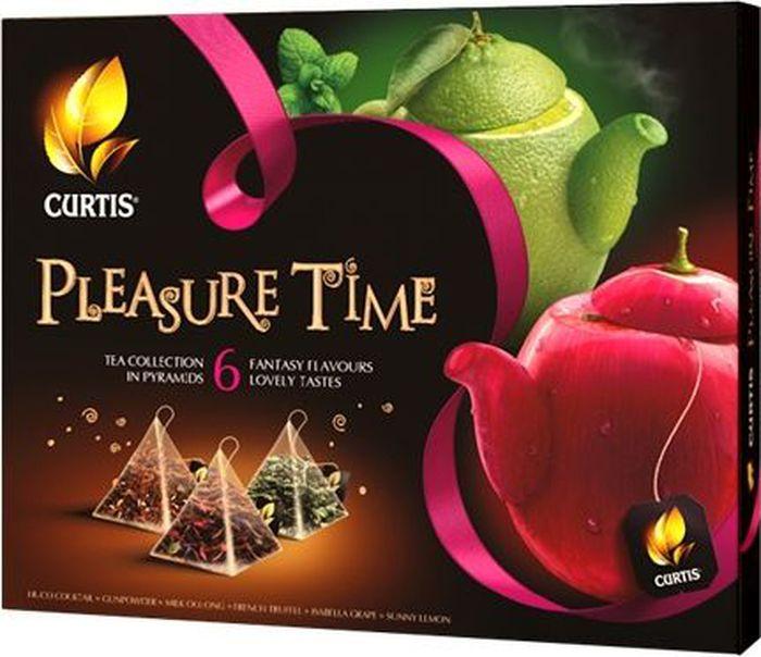 Curtis Pleasure Time розовый, чайное арома-ассорти в пирамидках, 53 г чудо стакан имбирь черный листовой чай 10 стаканов по 1 5 г