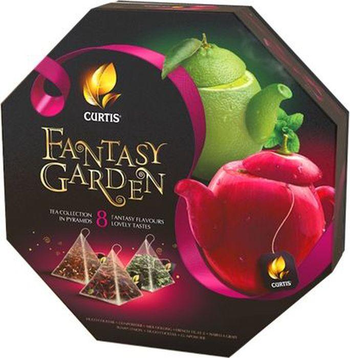 Curtis Fantasy Garden красный, чайное арома-ассорти в пирамидках, 70,5 г100335_красныйВпервые Ассорти Curtis в пирамидках! Листовой чай с многообразием ярких вкусов, с кусочками фруктов, ягод и лепестками цветов в подарочной упаковке, которыми хочется себя побаловать. Яркий и необычный дизайн с фантазийными чайниками - внесезонный подарочный ассортимент. Ассорти Curtis в пирамидках 8 вкусов по 5 штук: - Hugo: зеленый листовой чай, ароматизатор лайм и цветы бузины, цедра цитрусовых, мята, лепестки подсолнечника;- Fresh mojito: листовой зеленый чай, ароматизатор мохито, цедра цитрусовых, мята, лимонник;- Delicate mango: зеленый листовой чай, кусочки ананаса, ароматизатор манго, лепестки розы, лепестки цветов апельсина;- White bountea: белый листовой чай, ароматизатор питахайя, кусочки яблока, лепестки розы, регулятор кислотности лимонная кислота;- French truffle: черный листовой чай, ароматизатор французский трюфель, дробленые какао-бобы, кусочки кокоса;- Orange chocolate: черный листовой чай, ароматизаторы шоколад и апельсин, цедра апельсина, дробленые какао-бобы;- Banana flambe: листовой черный чай, ароматизатор банан и карамель, кусочки банана, лепестки подсолнечника;- Summer berries: гибискус, плоды шиповника, кусочки яблока, ароматизатор малина, кусочки малины