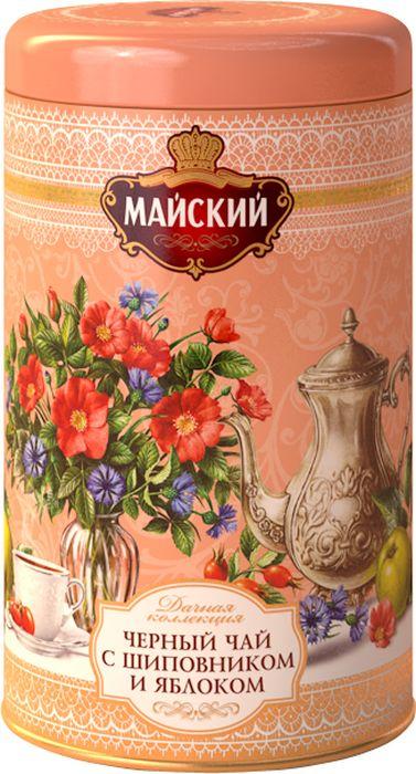 Майский Дачная Коллекция Шиповник-Яблоко черный листовой чай с натуральными добавками, 80 г майский корона российской империи черный чай в пирамидках 20 шт