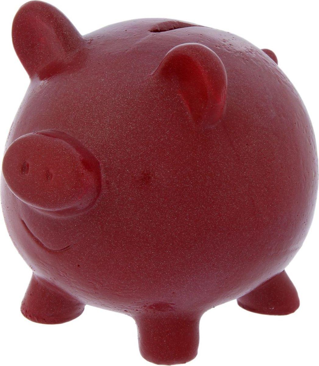 Копилка Пятак, цвет: бордовый, 15 х 12 х 14,5 см2387713Копилка — универсальный вариант подарка любому человеку, ведь каждый из нас мечтает о какой-то дорогостоящей вещи и откладывает или собирается откладывать деньги на её приобретение. Вместительная копилка станет прекрасным хранителем сбережений и украшением интерьера. Она выглядит так ярко и эффектно, что проходя мимо, обязательно захочется забросить пару монет. Обращаем ваше внимание, что копилка является одноразовой.