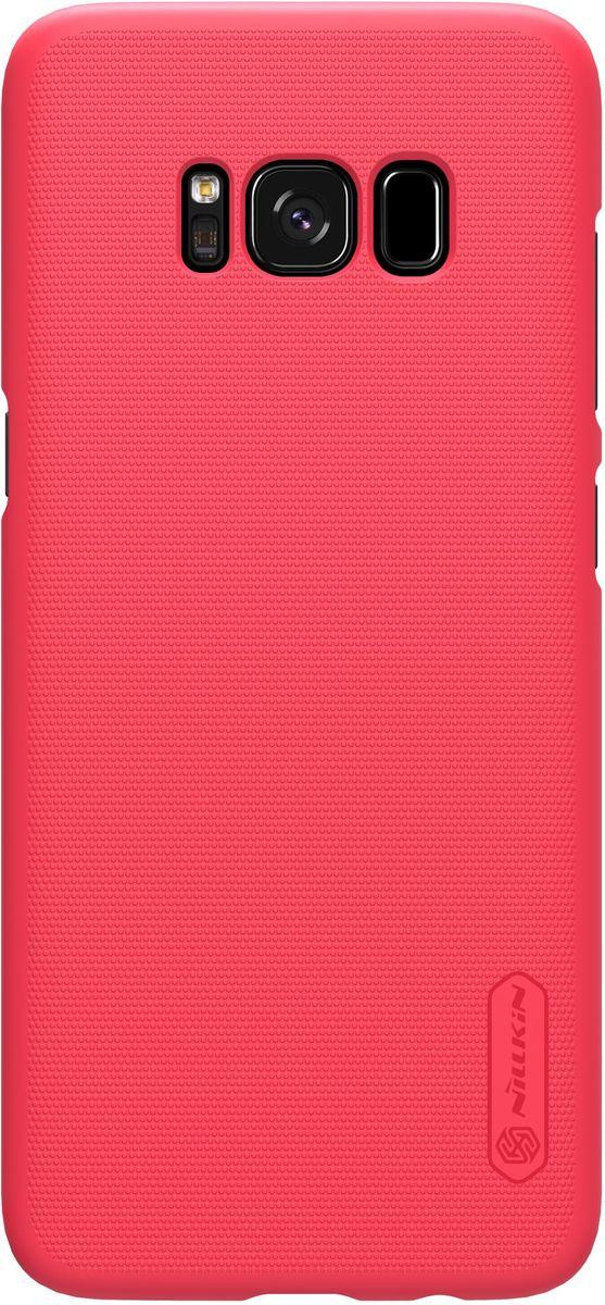 Nillkin Super Frosted Shield чехол-накладка для Samsung Galaxy S8, Red2000000137650Чехол надежно защищает ваш смартфон от внешних воздействий, грязи, пыли, брызг. Он также поможет при ударах и падениях, не позволив образоваться на корпусе царапинам и потертостям. Чехол обеспечивает свободный доступ ко всем функциональным кнопкам смартфона и камере.