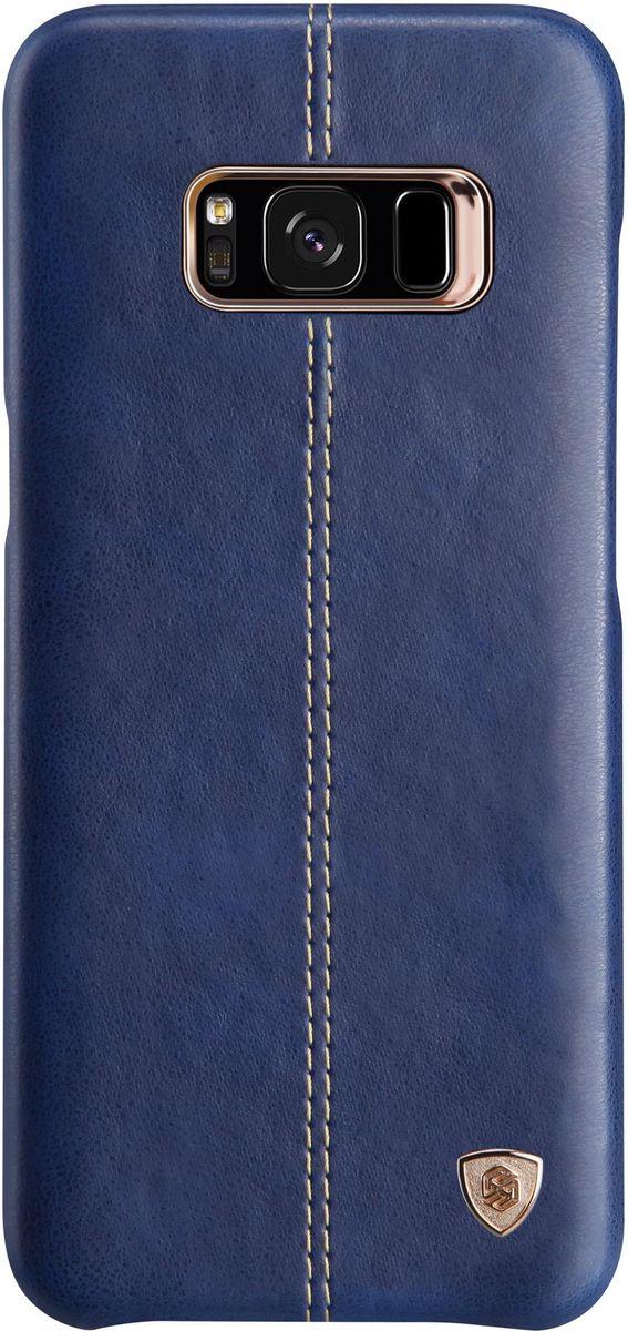 Nillkin Englon Leather Cover чехол-накладка для Samsung Galaxy S8, Blue2000000138510Чехол надежно защищает ваш смартфон от внешних воздействий, грязи, пыли, брызг. Он также поможет при ударах и падениях, не позволив образоваться на корпусе царапинам и потертостям. Чехол обеспечивает свободный доступ ко всем функциональным кнопкам смартфона и камере.