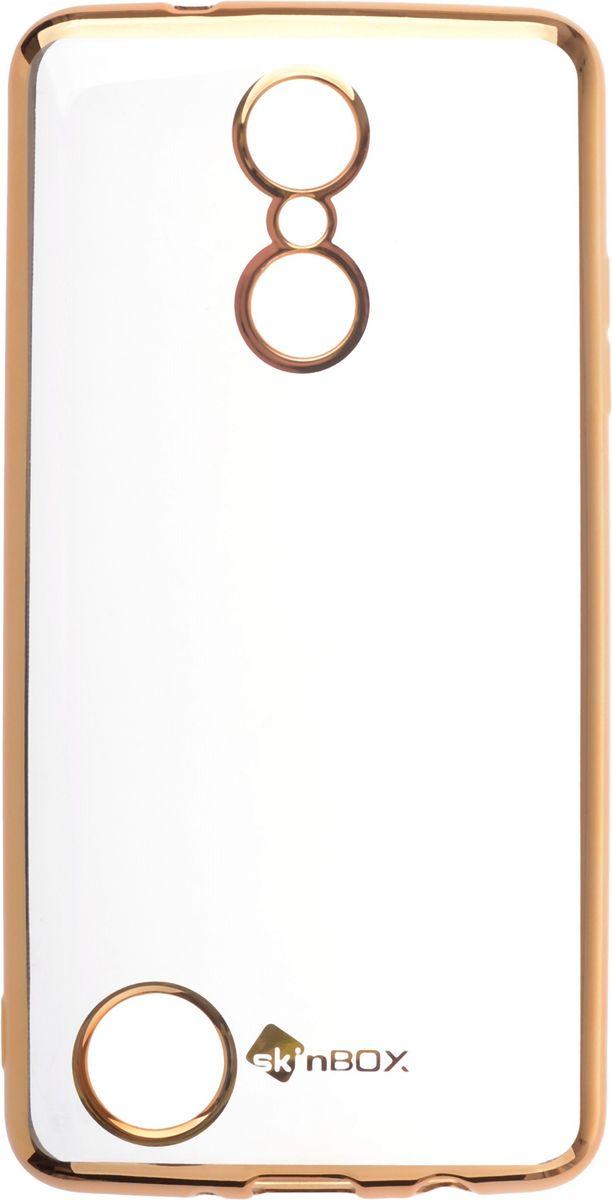 Skinbox 4People Silicone Chrome Border чехол-накладка для LG K8 (2017), Gold2000000147949Чехол-накладка Skinbox 4People Silicone Chrome Border для LG K8 (2017) обеспечивает надежную защиту корпуса смартфона от механических повреждений и надолго сохраняет его привлекательный внешний вид. Накладка выполнена из высококачественного силикона, плотно прилегает и не скользит в руках. Чехол также обеспечивает свободный доступ ко всем разъемам и клавишам устройства.