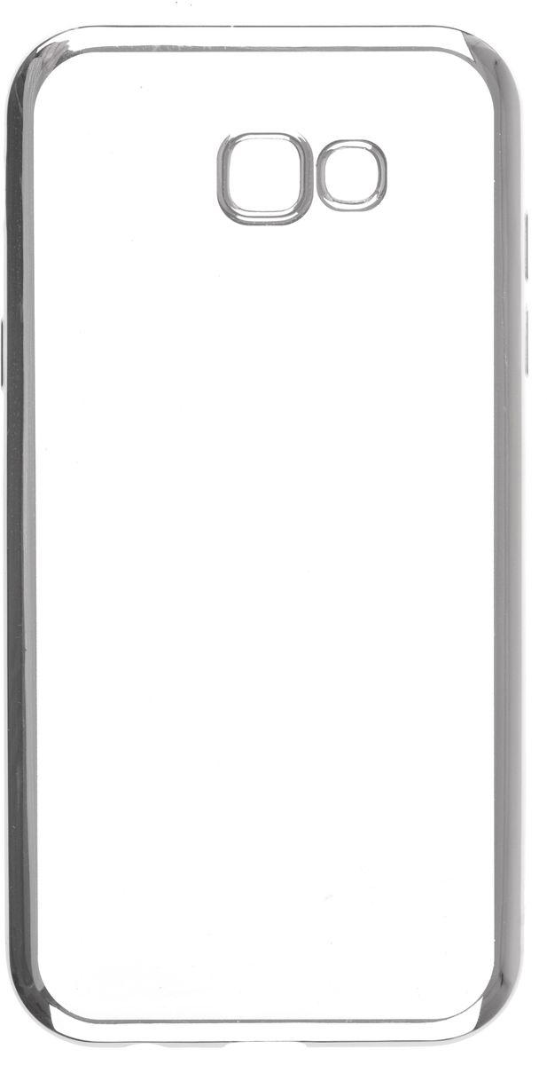 Skinbox 4People Silicone Chrome Border чехол-накладка для Samsung Galaxy A7 (2017), Silver2000000125367Чехол надежно защищает ваш смартфон от внешних воздействий, грязи, пыли, брызг. Он также поможет при ударах и падениях, не позволив образоваться на корпусе царапинам и потертостям. Чехол обеспечивает свободный доступ ко всем функциональным кнопкам смартфона и камере.