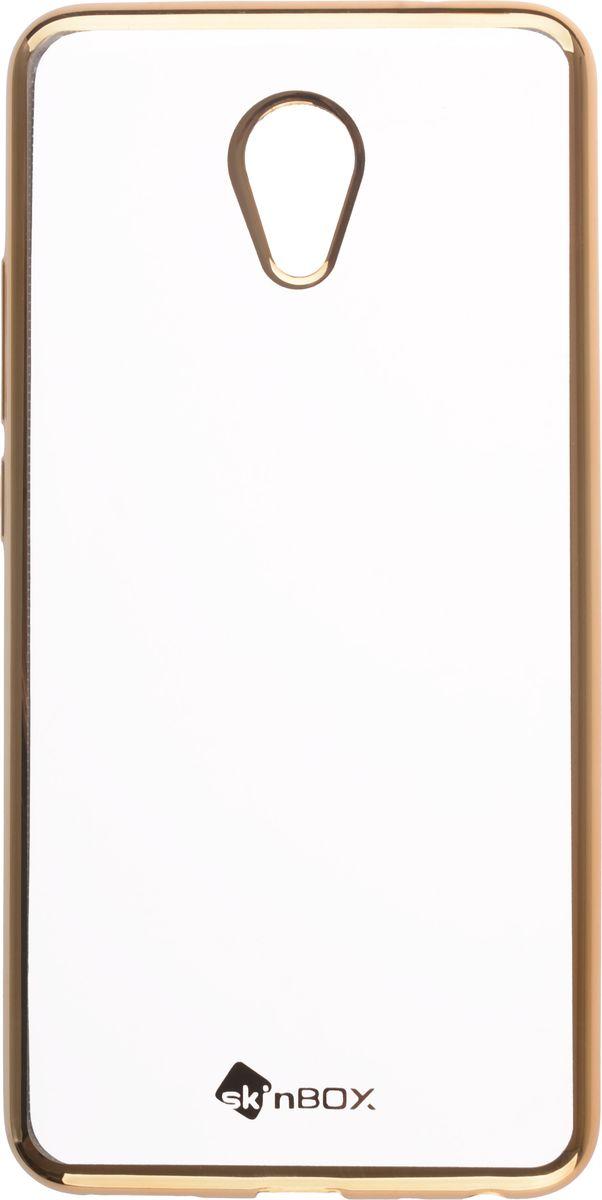 Skinbox 4People Silicone Chrome Border чехол-накладка для Meizu M5 Note, Gold2000000131993Чехол надежно защищает ваш смартфон от внешних воздействий, грязи, пыли, брызг. Он также поможет при ударах и падениях, не позволив образоваться на корпусе царапинам и потертостям. Чехол обеспечивает свободный доступ ко всем функциональным кнопкам смартфона и камере.