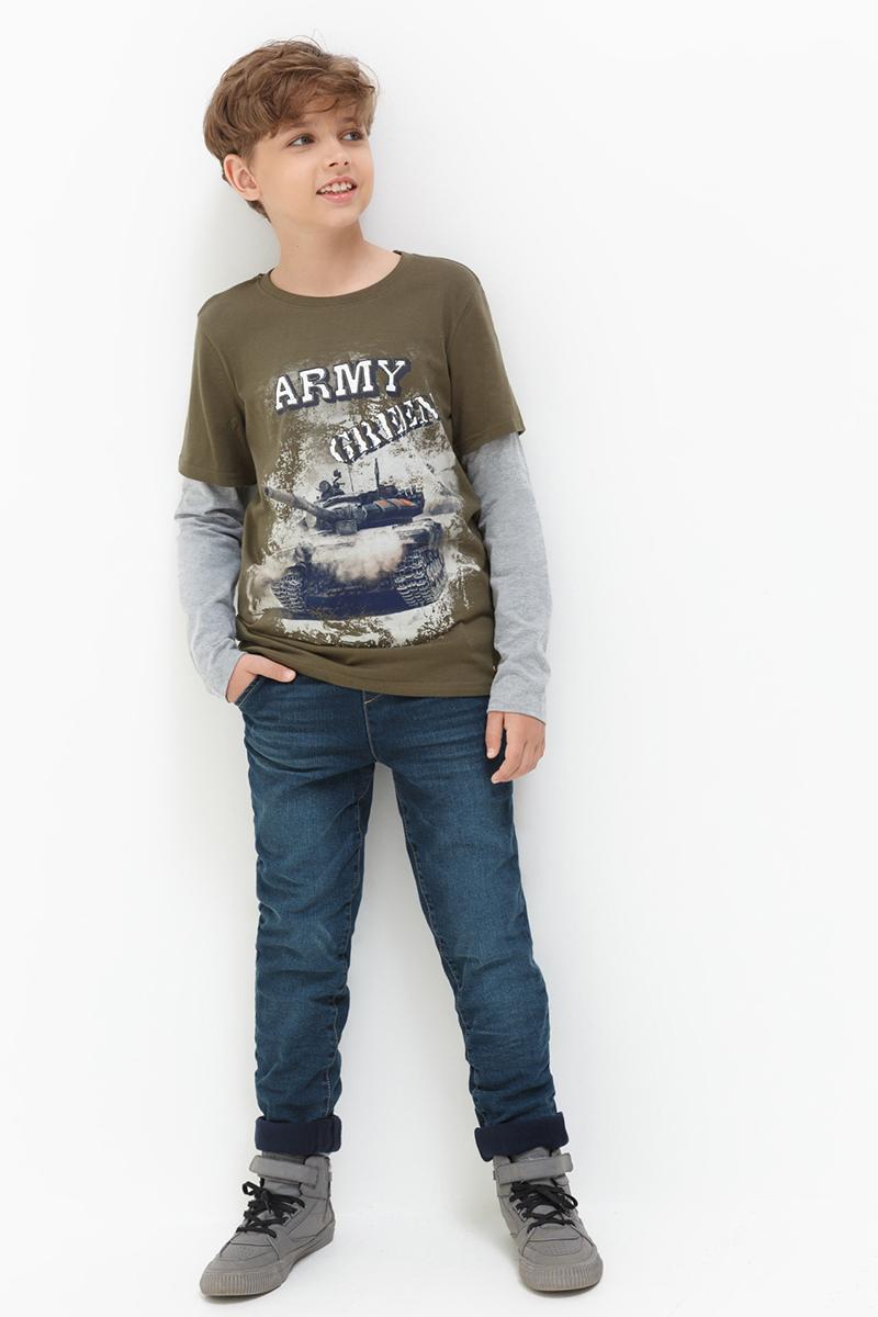 Брюки утепленные для мальчиков Acoola Knight, цвет: синий. 20120160120. Размер 10420110160117/20120160120Утепленные джинсы от Acoola на флисовой подкладке, декорированные выбеленным эффектом. Модель с поясом на эластичной резинке и завязках, ложным гульфиком и пятью карманами.