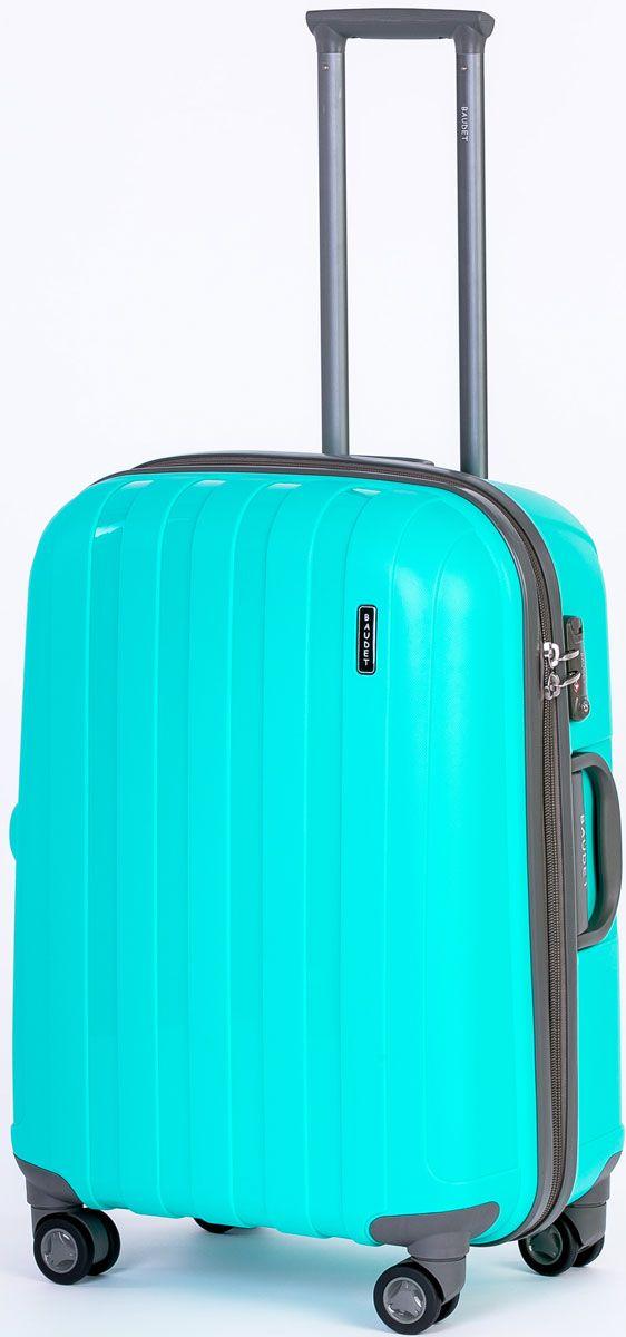 Чемодан Baudet, на колесах, цвет: бирюзовый, 47 х 30 х 62 см, 87 л чемодан baudet на колесах цвет черный красный 47 х 29 х 65 см 88 л