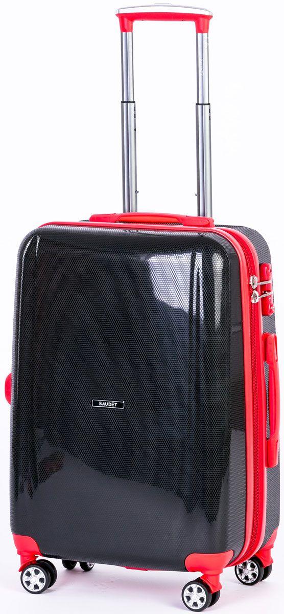 Чемодан Baudet, на колесах, цвет: черный, красный, 40 х 25 х 55 см, 55 л