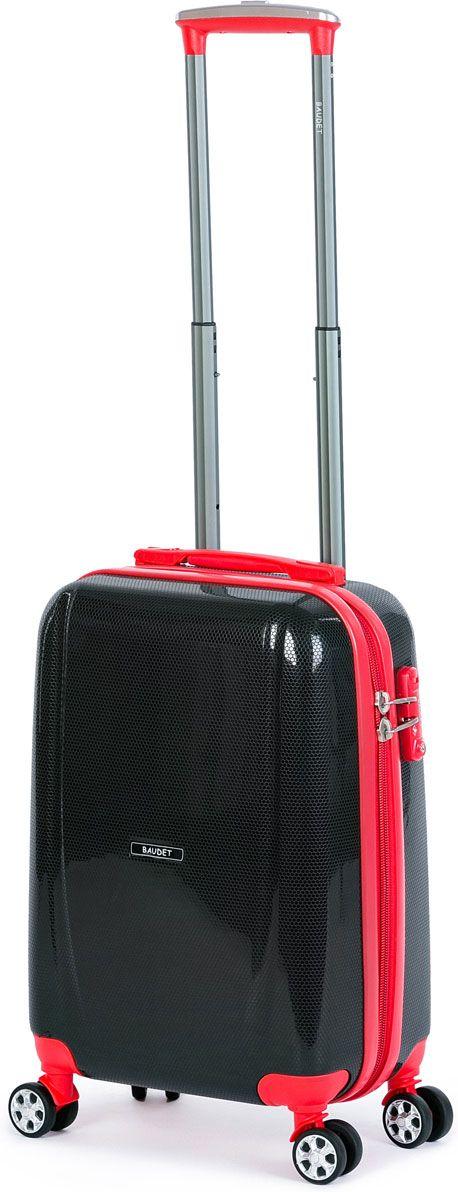 Чемодан Baudet, на колесах, цвет: черный, красный, 34 х 21 х 47 см, 33 л