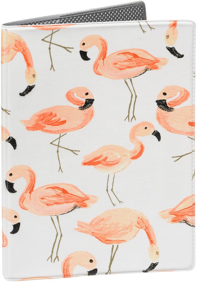 Обложка для паспорта Mitya Veselkov  Розовый фламинго , цвет: розовый, белый. OZAM439 - Обложки для паспорта