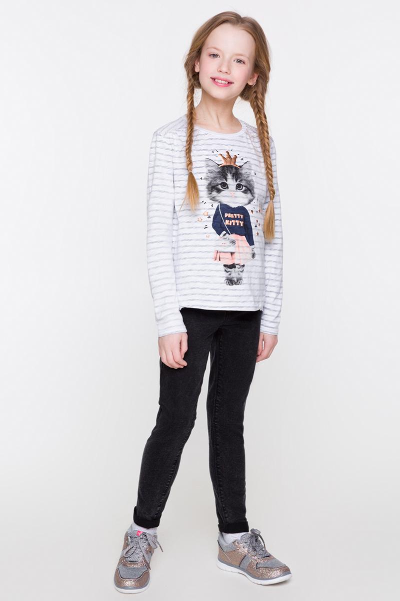 Футболка с длинным рукавом для девочки Acoola Real, цвет: белый, серый. 20220100113. Размер 128 футболка с длинным рукавом для девочки acoola avon цвет светло розовый 20210100132 размер 164