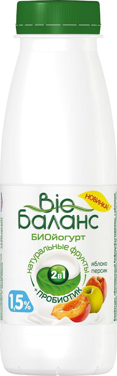 Био-Баланс Биойогурт Яблоко Персик 1,5%, 330 г nutrifree cantucci печенье с кусочками миндаля 240 г