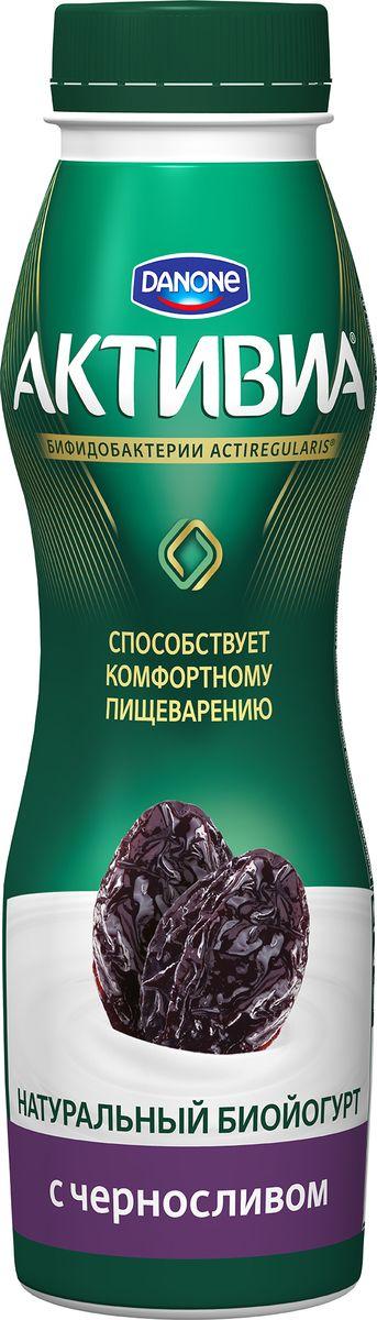 Активиа Биойогурт питьевой Чернослив 2%, 290 г йогурт campina нежный с соком вишни 1 2%