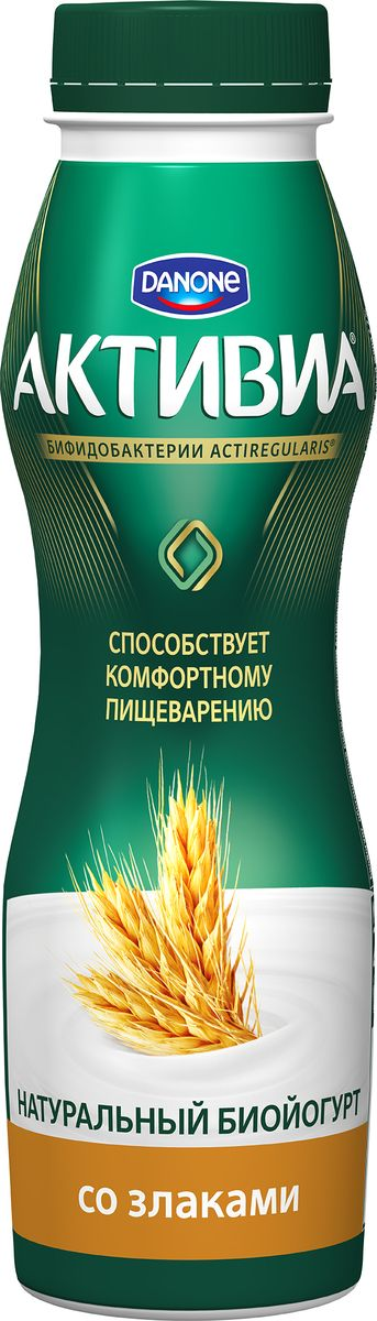 Активиа Биойогурт питьевой Злаки 2,2%, 290 г активиа биойогурт питьевой дыня клубника земляника 2