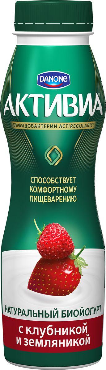 Активиа Биойогурт питьевой Клубника земляника 2%, 290 г активиа биойогурт густой чернослив 2 9