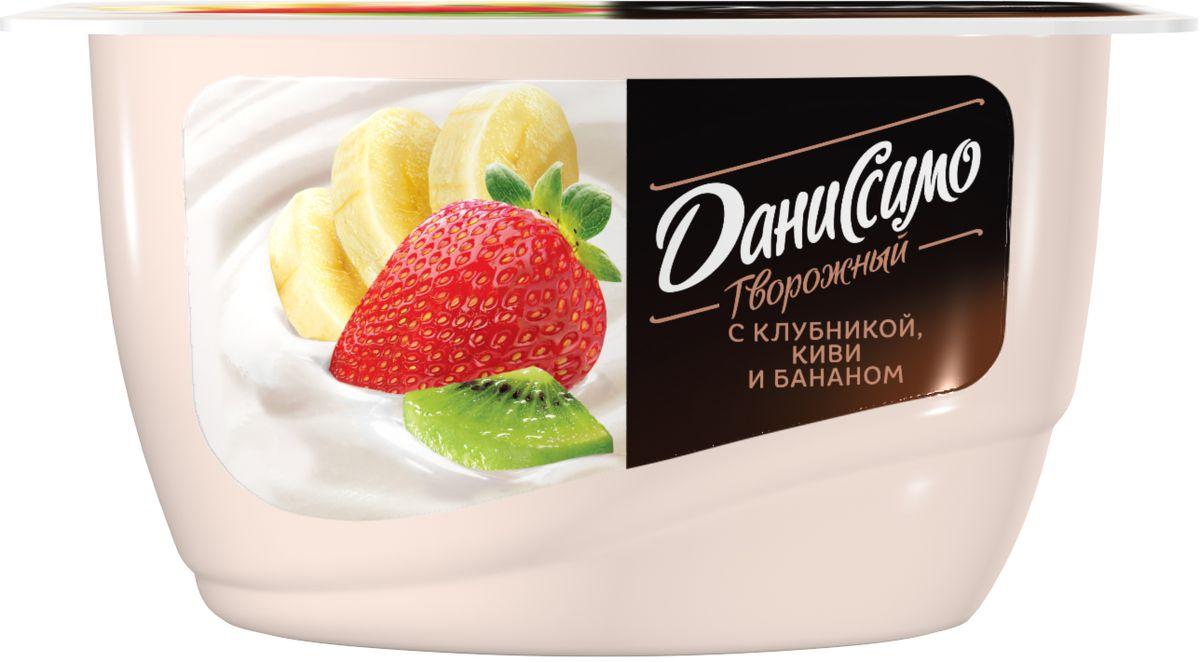 Даниссимо Продукт творожный Клубника киви банан 5,4%, 130 г danone продукт творожный груша банан 3 6