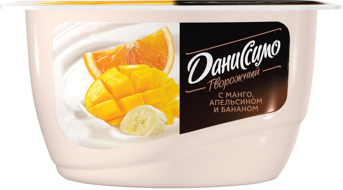Даниссимо Продукт творожный Манго апельсин банан 5,4%, 130 г danone продукт творожный груша банан 3 6