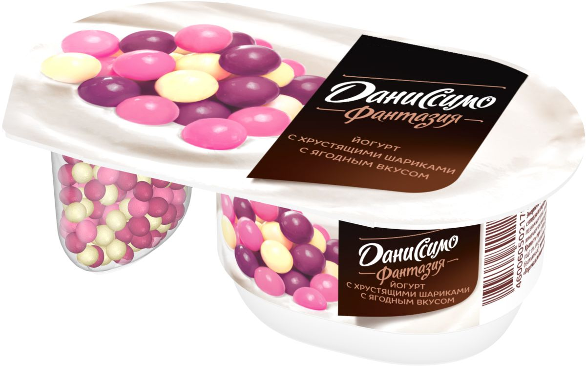 Даниссимо Йогурт густой Фантазия Ягодные шарики 6,9%, 105 г конфэшн минутки вафли со вкусом сливок айриш крим 165 г
