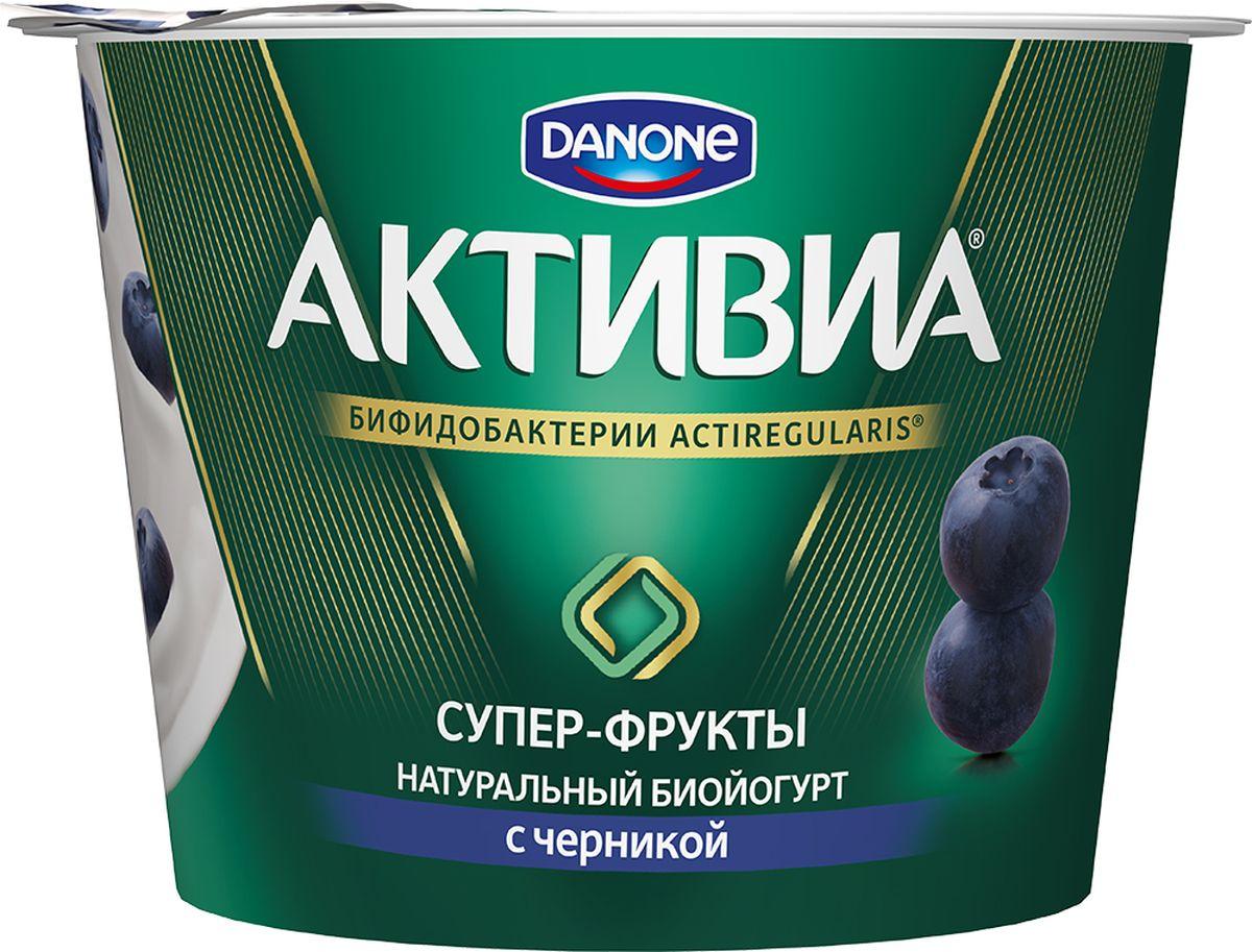 Активиа Биойогурт густой Черника 2,4%, 210 г danone биойогурт густой термостатный 4