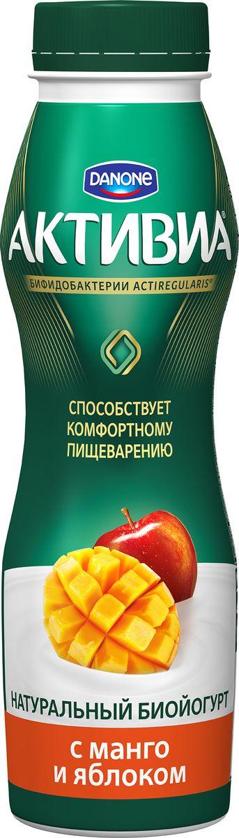 Активия Биойогурт питьевой Манго яблоко 2,0%, 290 г активиа биойогурт питьевой дыня клубника земляника 2