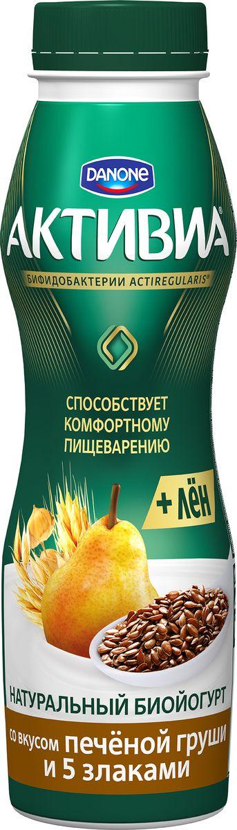 Активиа Биойогурт питьевой Печеная Груша-5 Злаков-Льняное семя 2,1%, 290 г danone йогурт питьевой черника ежевика 2 1% 270 г