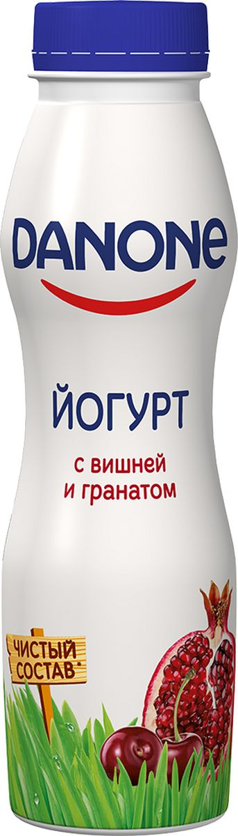 Danone Йогурт питьевой Вишня гранат 2,1%, 270 г121237Йогурт питьевой со вкусом вишни и граната, жирностью 2,1%.
