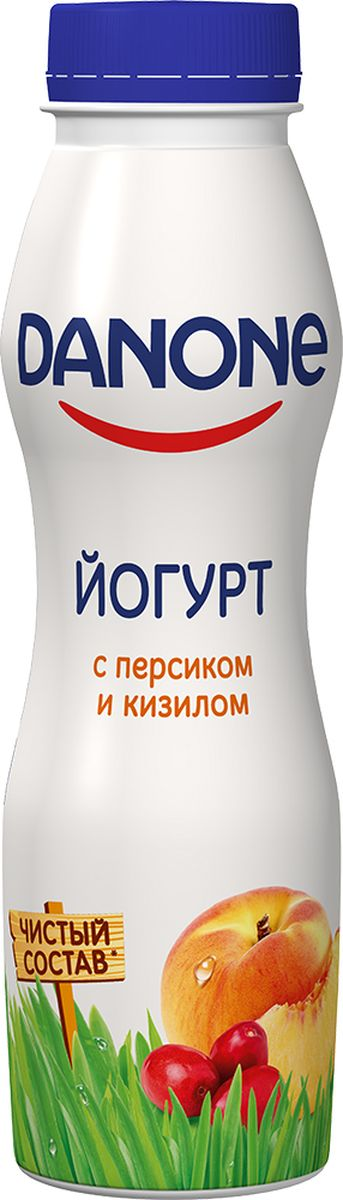 Danone Йогурт питьевой Персик кизил 2,1%, 270 г danone йогурт питьевой черника ежевика 2 1% 270 г