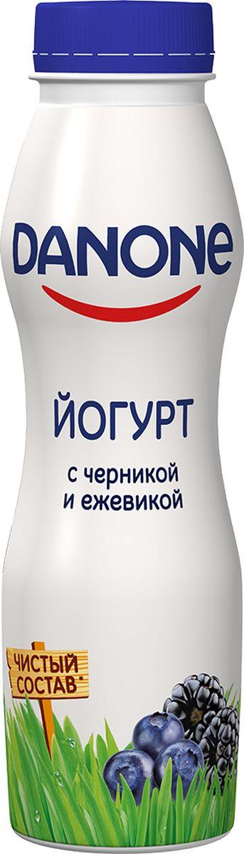 Danone Йогурт питьевой Черника ежевика 2,1%, 270 г121239Йогурт питьевой со вкусом черники и ежевики, жирностью 2,1%.