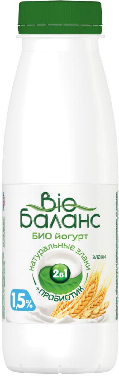 Био-Баланс Биойогурт Злаки 1,5%, 330 г активия биойогурт питьевой манго яблоко 2 0
