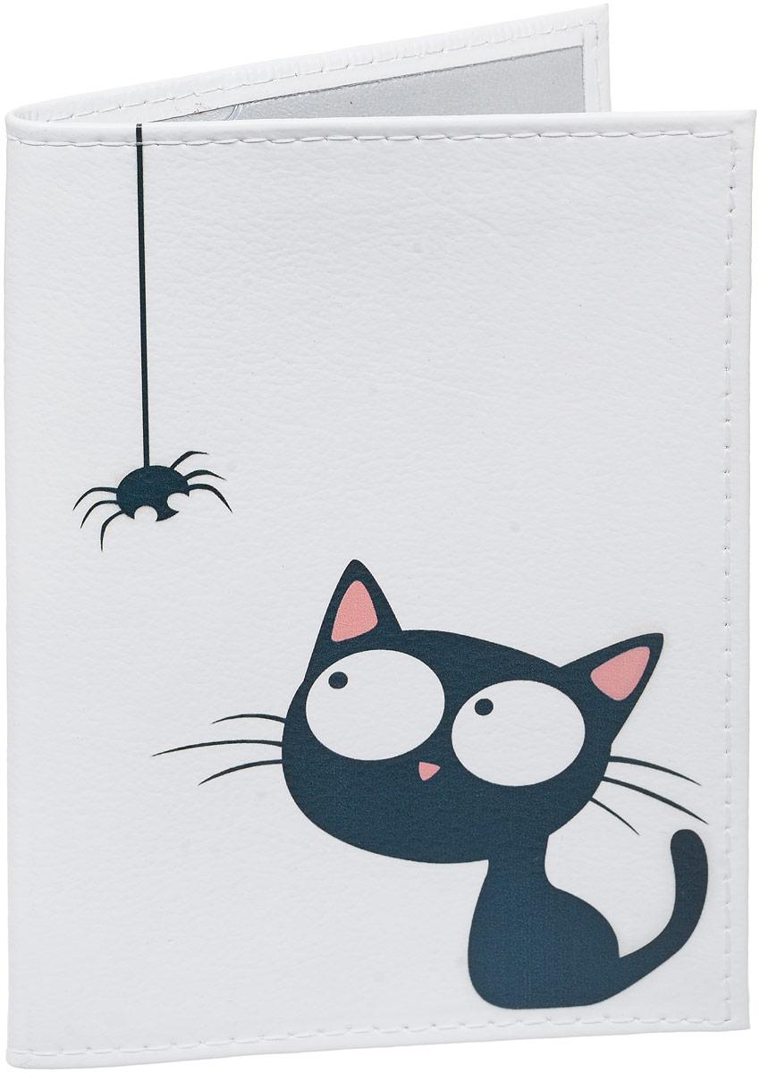 Обложка для паспорта Mitya Veselkov  Кошка и паучок , цвет: черный, белый. OK418 - Обложки для паспорта