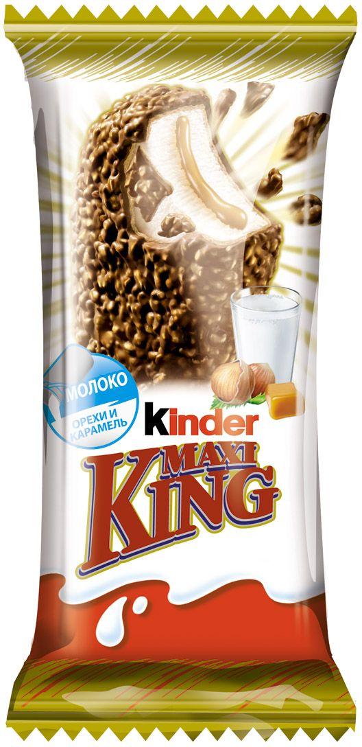 Киндер Вафля Макс Кинг Молочный шоколад молочно-карамельная начинка 36,7%, 35 г32918Оригинальное пирожное обладает восхитительным ароматом и нежнейшей тающей во рту консистенцией. Воздушная молочная начинка с прослойкой мягкой карамели покрыта тонкими вафлями и слоем молочного шоколада с дроблеными орешками.