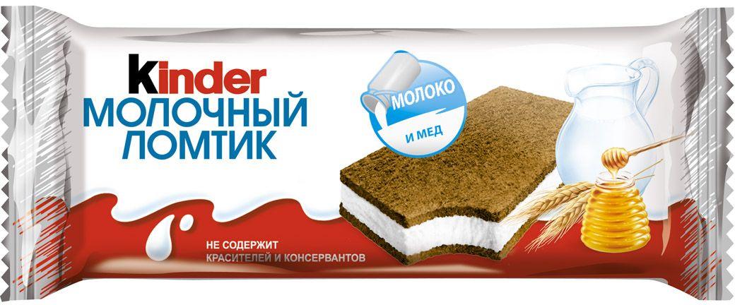 Киндер Бисквитное пирожное Молочный ломтик 27,9% 28 г32913Воздушное пирожное из тонкого бисквита, обладающего насыщенным вкусом какао с медовыми нотками, дополнено нежной молочной начинкой.