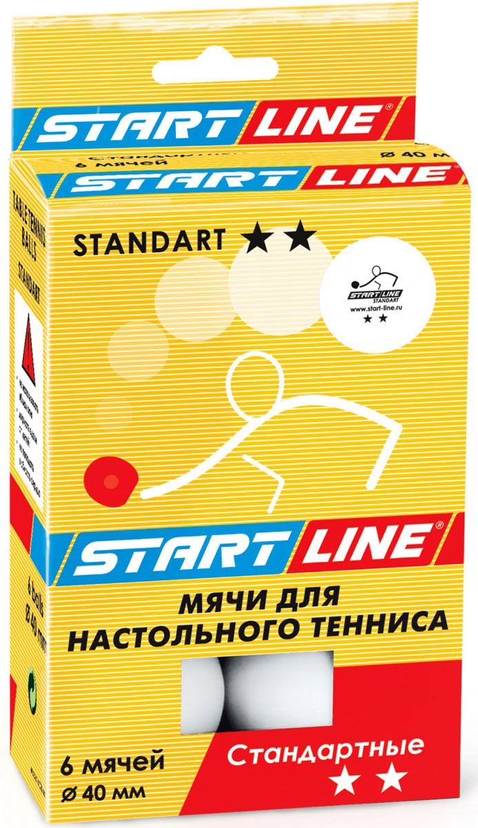 Мяч для настольного тенниса StartLine Standart, 6 штУТ-00005877Набор мячей Start Line Standart, выполненный из пластика, предназначен для игры в настольный теннис. Мячи для начинающих игроков и любителей. Надежные и качественные, подходят для игроков с небольшим опытом.
