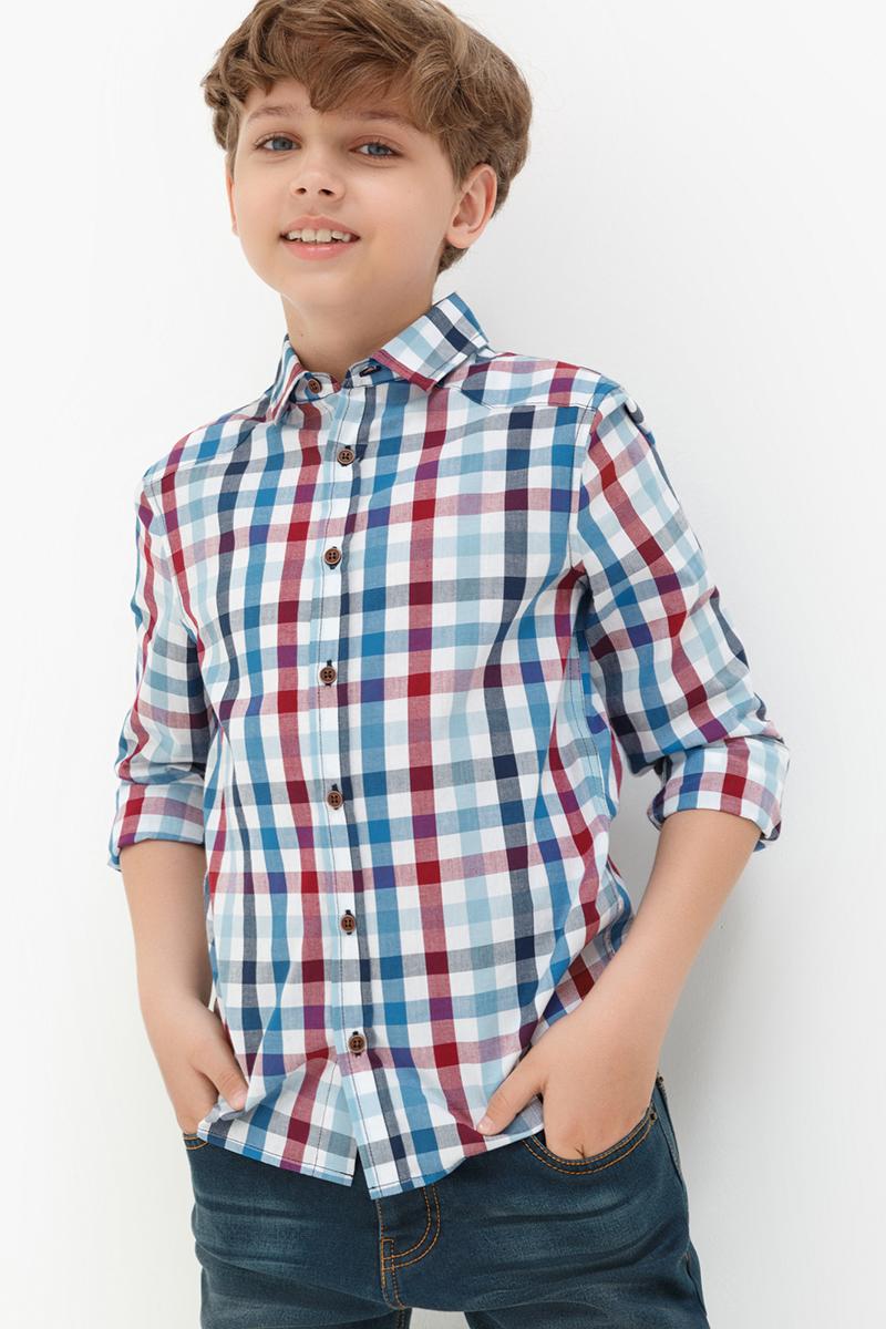Рубашка для мальчика Acoola Forest, цвет: светло-голубой. 20110280053. Размер 14020110280053Рубашка от Acoola классического кроя выполнена из хлопковой ткани в яркую клетку. Модель с длинным рукавом, классическим отложным воротником и застежкой на пуговицы.