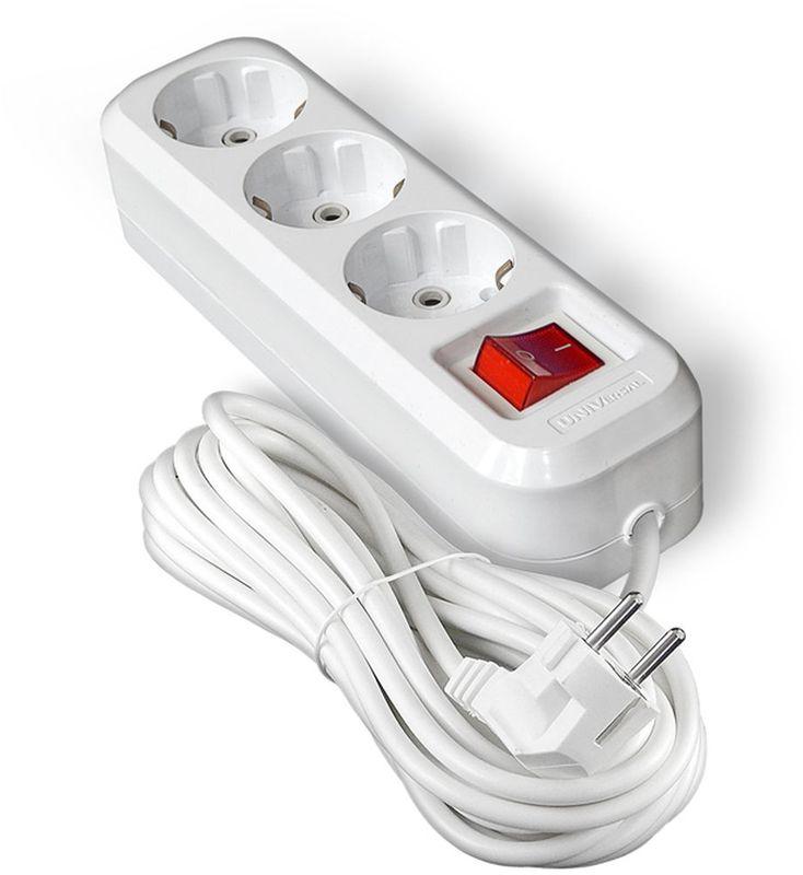 Удлинитель UNIVersal, с заземлением, с выключаталем, 3 розетки, 7 м9631988