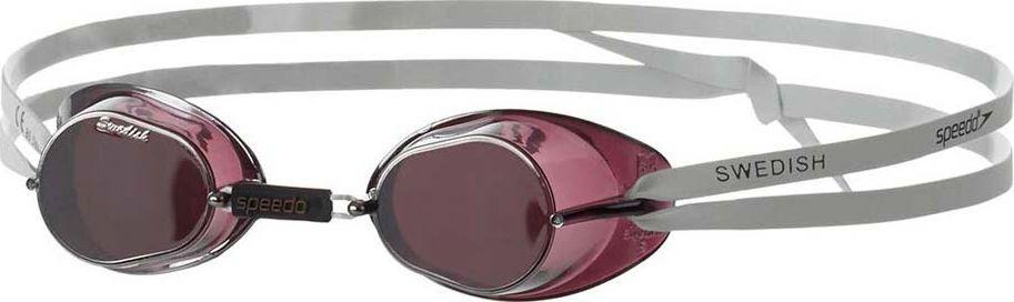 Очки для плавания Speedo Mirror, цвет: черный, серебряный8-706062150Плавательные очки Speedo Swedish Mirror. Технологичная модель с жесткой оправой разработана на основе очков Malmsten Swedish. Сборный комплект состоит из двойного ремешка и линз с зеркальным покрытием и защитой от ультрафиолетовых лучей. Antifo покрытие обеспечивает отличную видимость. Материал линз: PC. Материал ремешка: латекс.