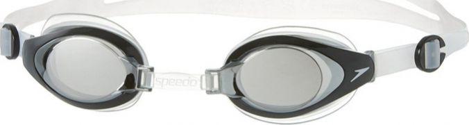 Очки для плавания Speedo Mariner Mirror Junior, цвет: серый, прозрачный8-093014556Многофункциональные детские очки для плавания и отдыха. Подстраиваемая носовая перегородка для разных типов лица. Раздельный двойной ремешок для надежной фиксации. На поверхность линз нанесено несмываемое антизапотевающее покрытие Antifog. Защищают детские глаза от солнечных лучей, благодаря чему идеально подходят для открытой воды. Линзы с зеркальным покрытием