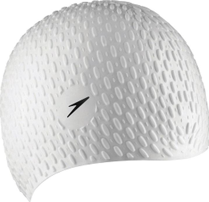 Шапочка для плавания Speedo Bubble Cap, цвет: белый8-709290003Силикон белого цвета со специальными вставками buble. Благодаря таким вставкам, поддерживается привычный для тела температурный режим. Может использоваться для тренировок в прохладной воде. Шапочка предназначена, как для закрытых бассейнов, так и для открытой воды. Плотно сидит на голове может использоваться для прыжков в воду.