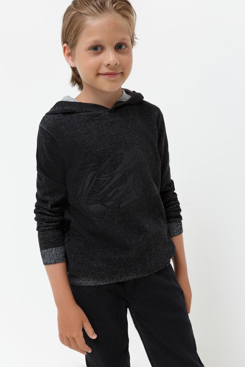 Свитер для мальчика Acoola Mitsubishi, цвет: черный. 20110320024. Размер 14020110320024Вязаный свитер от Acoola с капюшоном декорирован прорезиненным принтом спереди. Модель свободного силуэта с эластичными манжетами и поясом.