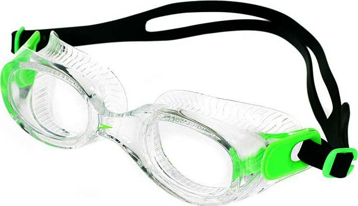 Очки для плавания Speedo Futura Classic, цвет: зеленый, прозрачный8-10898B568Очки для плавания Speedo Futura Classic будут незаменимы во время плавания в бассейне и открытой воде. Линзы изготовлены из прочного пластика, а внутренняя поверхность имеет покрытие AntiFog, препятствующее запотеванию линз и обеспечивающее круговой обзор и отличную видимость. Точное исполнение линз гарантирует отсутствие искажений. Очки имеют защиту от ультрафиолетового излучения. Плотное прилегание очков и комфорт обеспечиваются силиконовыми наглазниками. Силиконовый ремешок можно регулировать по размеру.