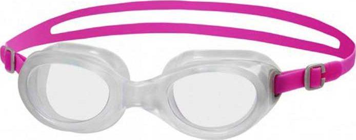 Очки для плавания Speedo Futura Classic Female, цвет: розовый, прозрачный8-10899B564Очки для плавания Speedo Futura Classic будут незаменимы во время плавания в бассейне и открытой воде. Линзы изготовлены из прочного пластика, а внутренняя поверхность имеет покрытие AntiFog, препятствующее запотеванию линз и обеспечивающее круговой обзор и отличную видимость. Точное исполнение линз гарантирует отсутствие искажений. Очки имеют защиту от ультрафиолетового излучения. Плотное прилегание очков и комфорт обеспечиваются силиконовыми наглазниками. Силиконовый ремешок можно регулировать по размеру.
