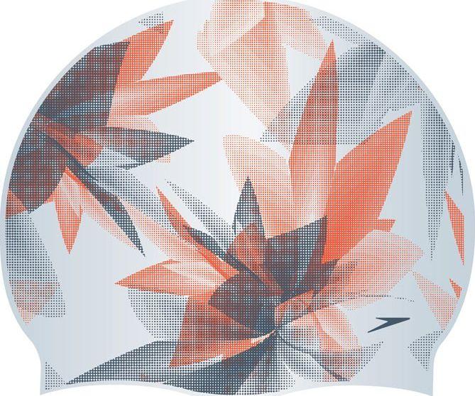 Шапочка для плавания Speedo Ultra Fizz Reversible Cap, цвет: серебристый, оранжевый, серый8-09337B898Двусторонняя шапочка для плавания Speedo Ultra Fizz Reversible Cap выполнена из высококачественного силикона. Она плотно облегает голову, обеспечивая комфортную и надежную посадку. Модель оформлена оригинальным принтом.
