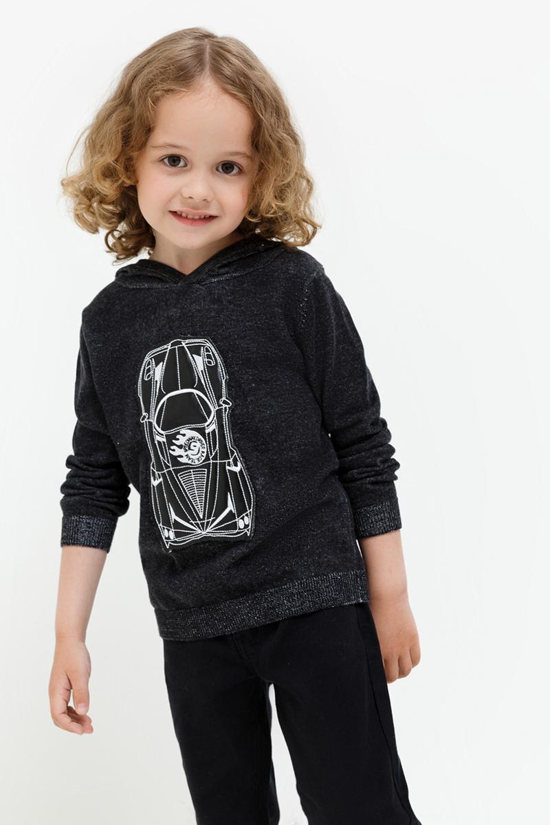 Свитер для мальчика Acoola Mitsubishi, цвет: черный. 20120320023. Размер 11020120320023Вязаный свитер от Acoola с капюшоном декорирован аппликацией из искусственной кожи спереди. Модель свободного силуэта с эластичными манжетами и поясом.