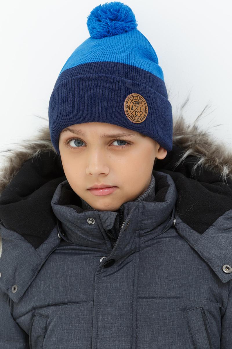 Шапка для мальчика Acoola Colo, цвет: синий. 20136400029. Размер XS (50)20136400029Детская шапка от Acoola выполнена из натуральной акриловой пряжи и оформлена помпоном. Такая шапка согреет вашего ребенка в холодное время года.