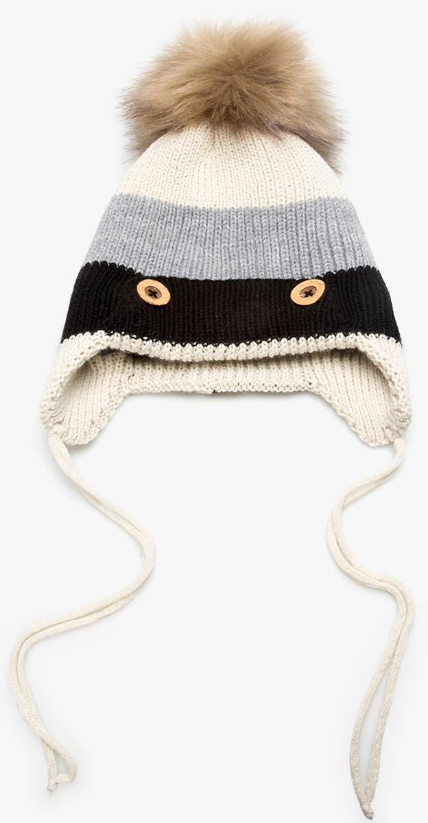 Шапка для мальчика Acoola Flo, цвет: молочный, серый, черный. 20126400027. Размер S (50/52)20126400027Детская шапка от Acoola с завязками выполнена из натуральной акриловой пряжи и декорирована меховым помпоном. Такая шапка согреет вашего ребенка в холодное время года.
