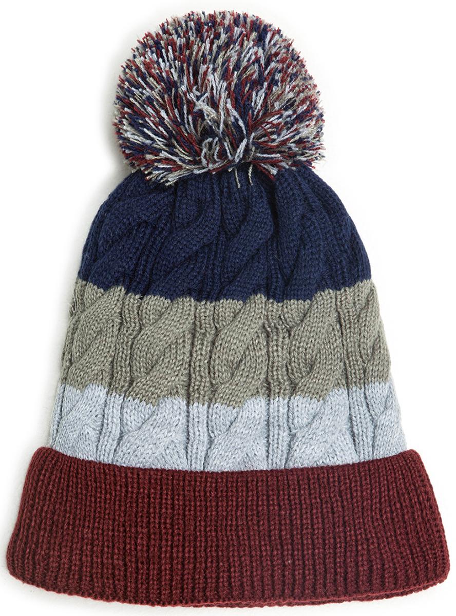 Шапка для мальчика Acoola Hort, цвет: темно-синий, серый, бордовый. 20116400022. Размер L (54)20116400022Детская шапка от Acoola выполнена из натуральной акриловой пряжи и декорирована помпоном. Такая шапка согреет вашего ребенка в холодное время года.