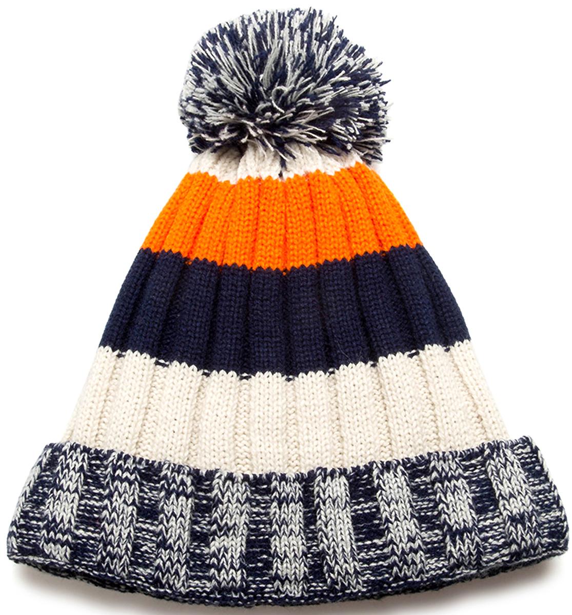 Шапка для мальчика Acoola Kleu, цвет: темно-синий, молочный, оранжевый. 20116400023. Размер L (54)20116400023Детская шапка от Acoola выполнена из натуральной акриловой пряжи и декорирована помпоном. Такая шапка согреет вашего ребенка в холодное время года.